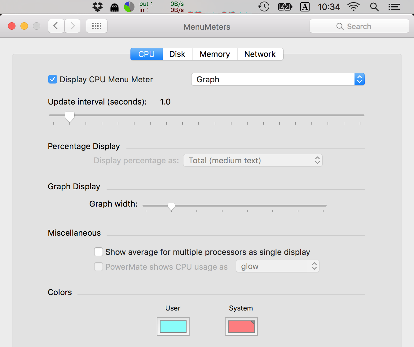 MenuMeters for OS X El Capitan 10 11 and later